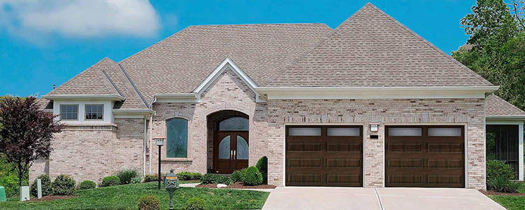 woodgrain garage door exterior elevation