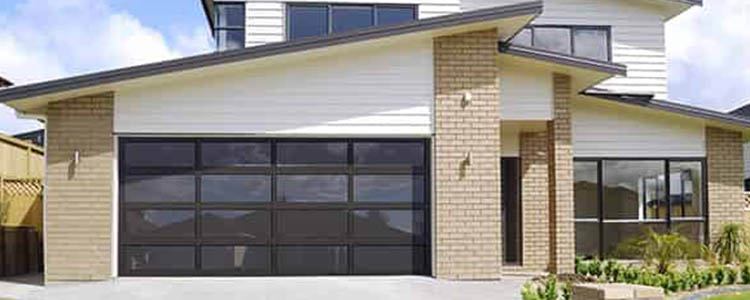 black glass modern garage door